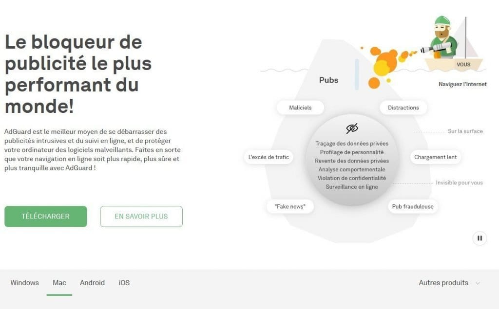 Capture d'écran de l'application AdGuard qui bloque les annonces