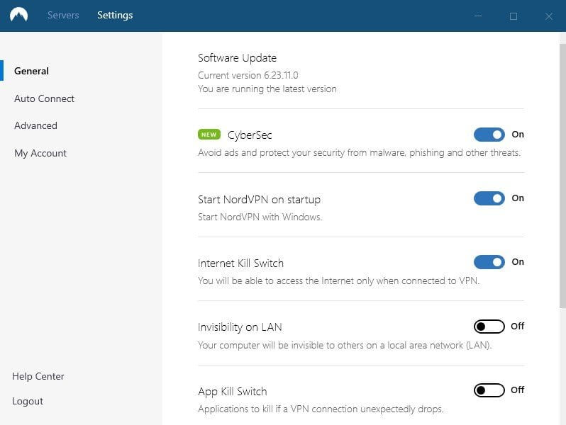 Capture d'écran de l'application NordVPN CyberSec