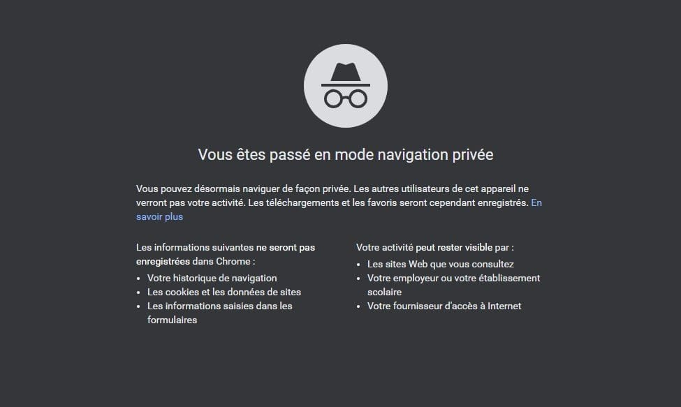 Capture d'écran du mode Incognito sous Chrome
