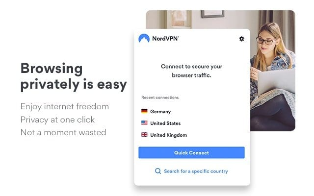 Capture d'écran de l'extension NordVPN pour Google Chrome