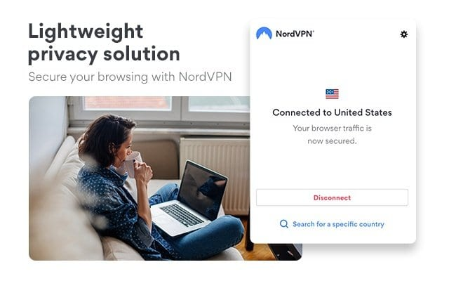 capture d'écran extension NordVPN pour Chrome