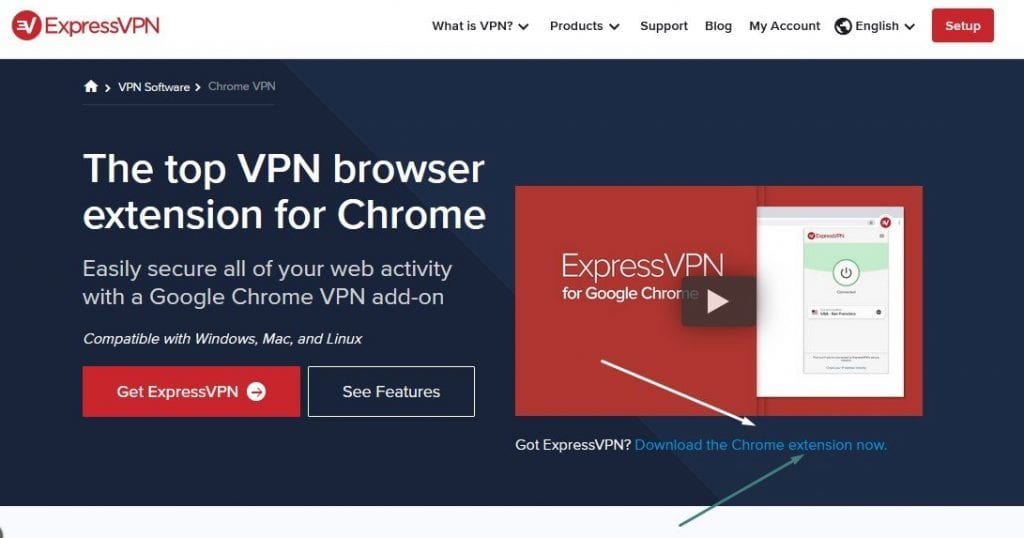 Capture d'écran de la page web de  l'extension ExpressVPN pour Google Chrome