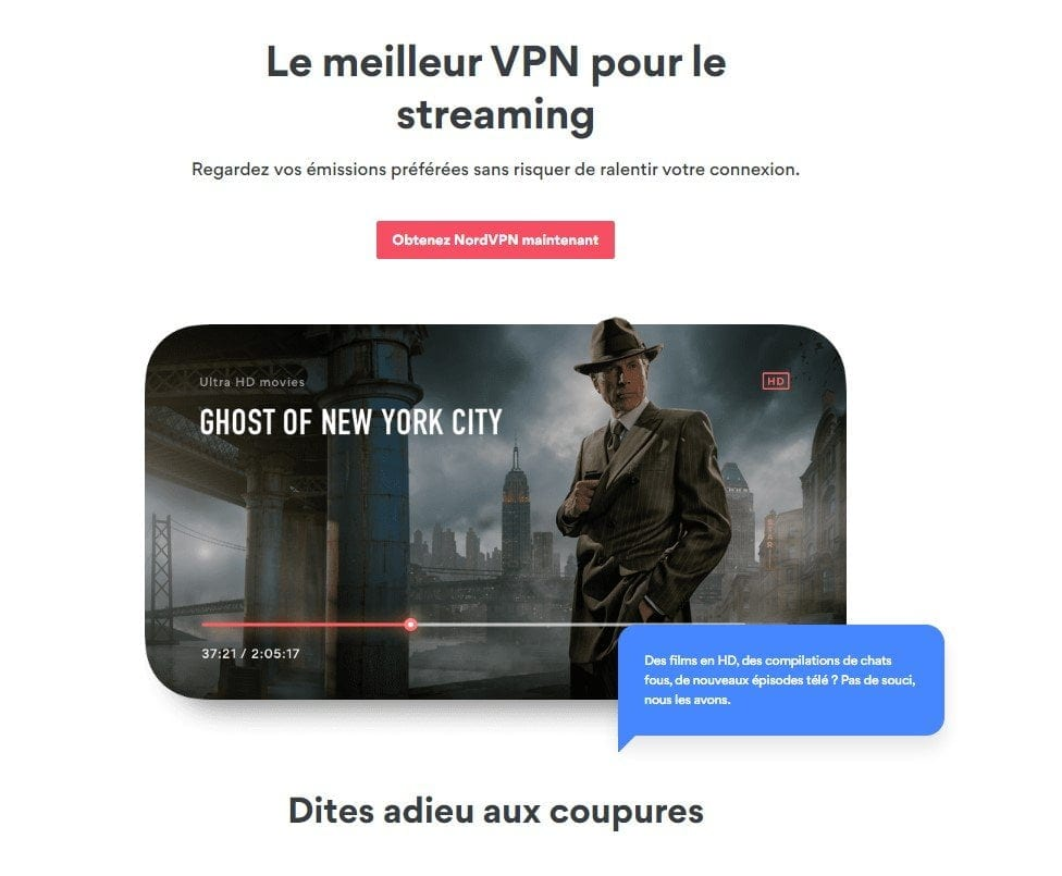 Capture d'écran site web NordVPN Netflix Streaming