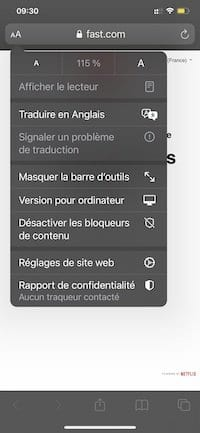 Safari sur iPhone - Menu Réglages