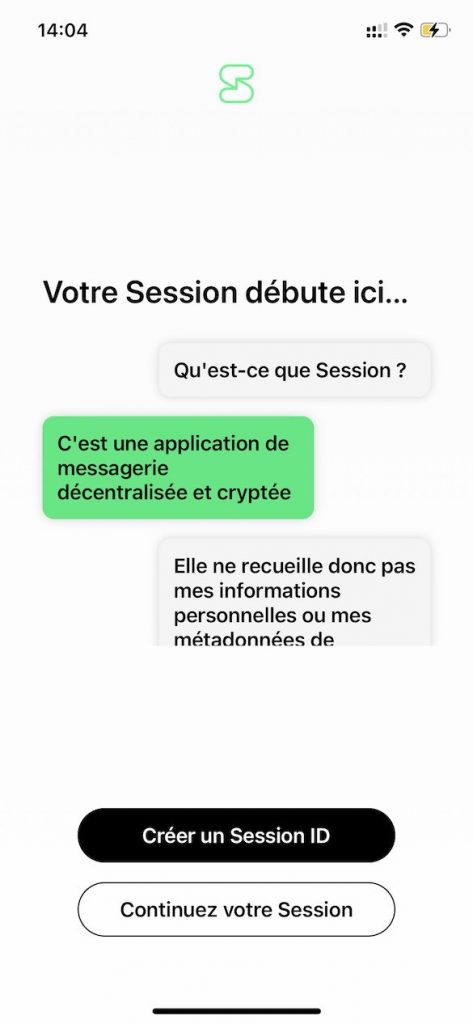 Session Messenger Page Accueil Application