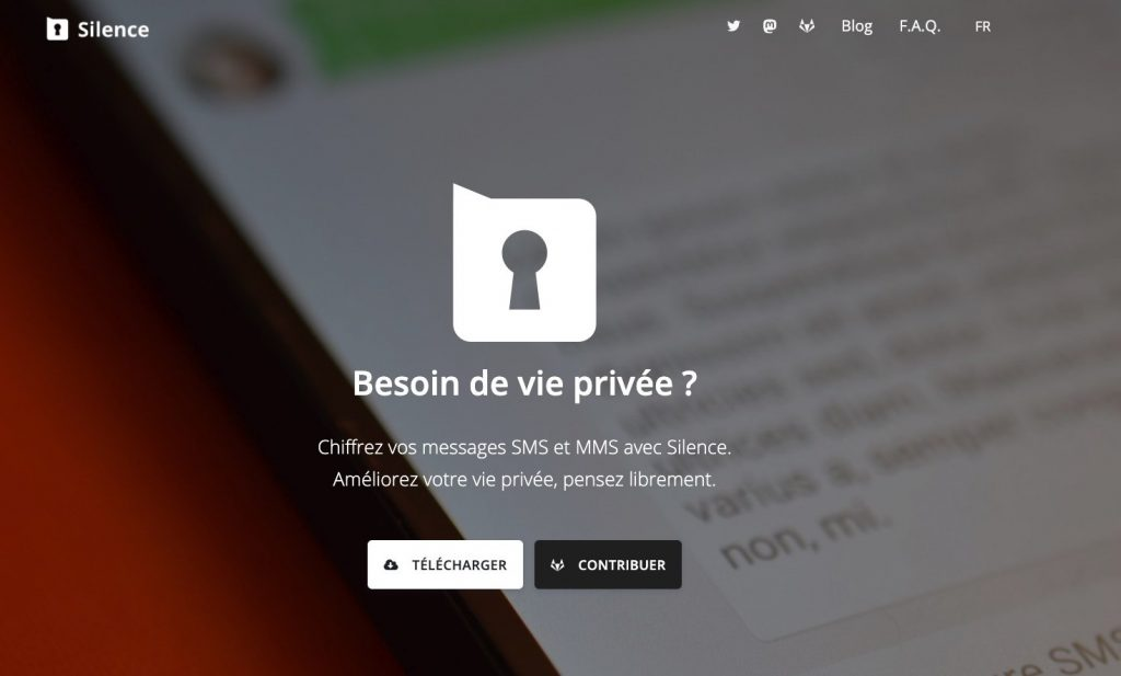 Silence Android Messenger Page Accueil Site Web